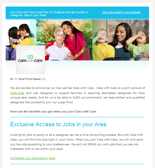 Care with Care Email Campaign